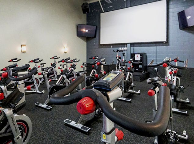 Spinning studio with Cardio Cinema at Gold's Gym Mechanicsville